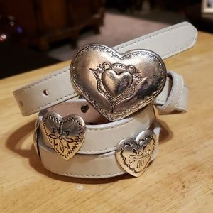 Vtg Cowgirl Silver Hearts Studs Leather Belt S